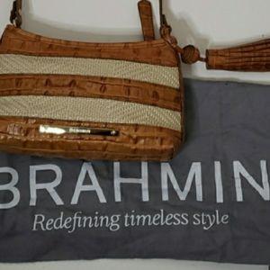 Brahmin Whiskey Embossed leather raffia shoulder